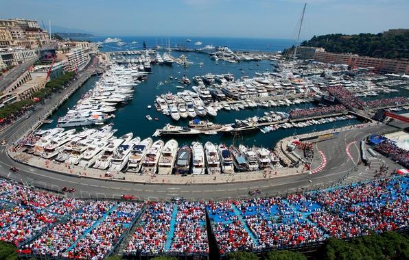 Picture sea, the city, coast, sport, track, yachts, race, boats, tribune, the audience, Monaco, Formula 1, …