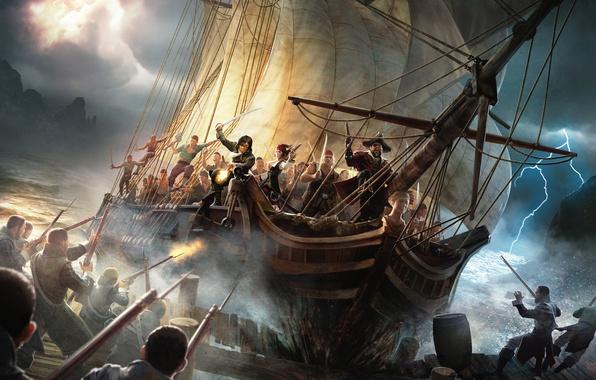 Picture the storm, storm, weapons, zipper, ship, sailboat, pierce, pirates, Risen 2