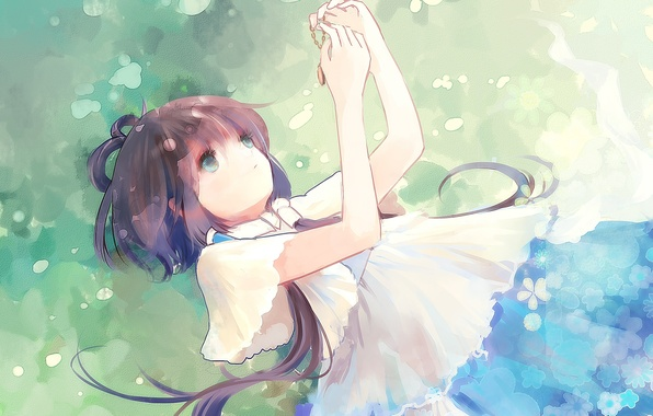 Picture girl, flowers, nature, art, pendant, lies, chain, vocaloid, Vocaloid, luo tianyi, wishtakeme, aki