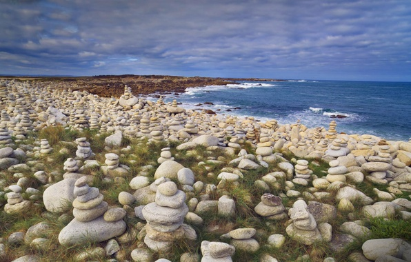 Picture sea, stones, shore, coast, France, Brittany, The côtes-d'armor, pink granite