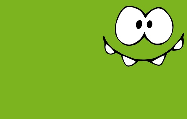 Picture green, small, monster, Lollipop, character, happy, Cut the Rope, minimalism., Amateur, the universe, Om-Nom, Am ...