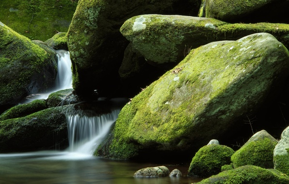 Picture nature, stones, waterfall