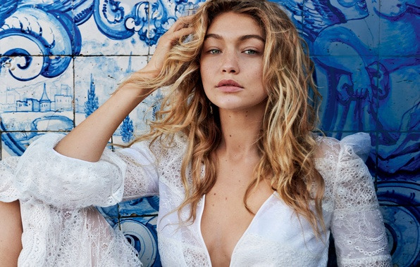 Picture girl, wall, model, dress, hairstyle, blonde, photographer, drawings, in white, Vogue, 2015, Gigi Hadid, Gigi …