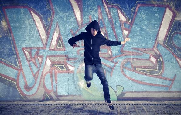 Picture asphalt, background, movement, wall, earth, jump, Wallpaper, graffiti, sport, dance, hood, male, guy, the rise, …