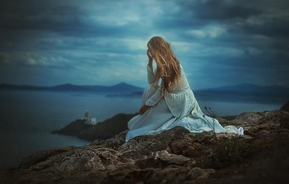 Picture girl, landscape, stone, dress, TJ Drysdale