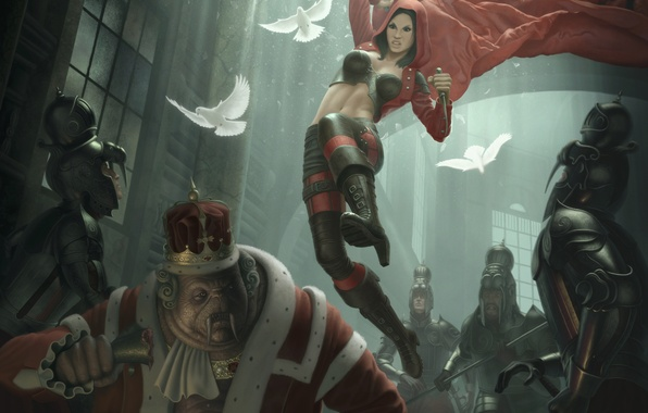 Picture girl, hood, pigeons, knight, cloak, killer, king, assassin
