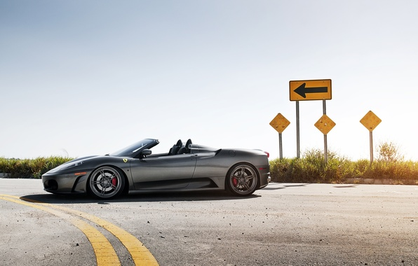 Picture road, the sky, grey, sign, arrow, Ferrari, supercar, Ferrari, side view, spider, f-430, Spider, F-430