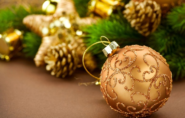 Picture yellow, background, holiday, Wallpaper, toys, tree, new year, ball, blur, sequins, wallpaper, new year, bumps, …