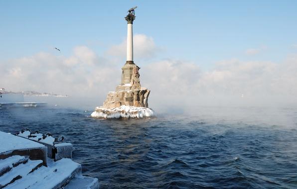 Picture winter, water, clouds, snow, freshness, the city, fog, hero, Russia, promenade, Crimea, The black sea, …