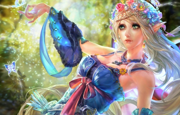Picture girl, butterfly, fiction, elf, girl, fantasy, elf