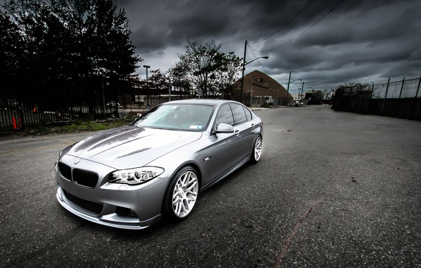 Picture reflection, bmw, BMW, silver, front view, f10, silvery