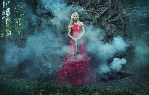Picture girl, trees, violin, smoke, dress, blonde, in red, one, bow, in the woods