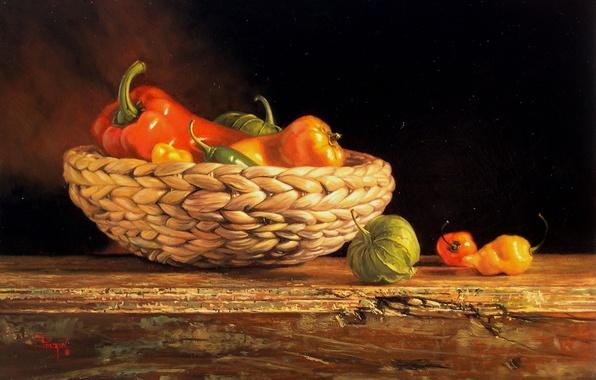 Picture table, basket, figure, picture, still life, vegetables, reproduction, Kyle, Polzin