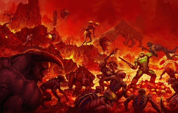 Picture the game, legend, art, Game, return, shooter, Doom, DOOM