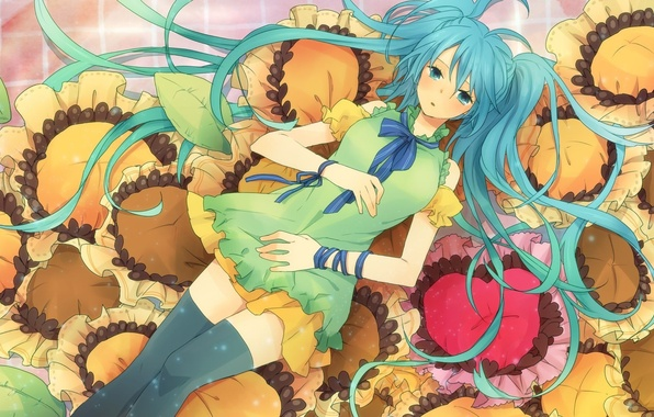 Picture girl, sunflowers, anime, art, vocaloid, hatsune miku, Vocaloid, Hatsune Miku, itonoko