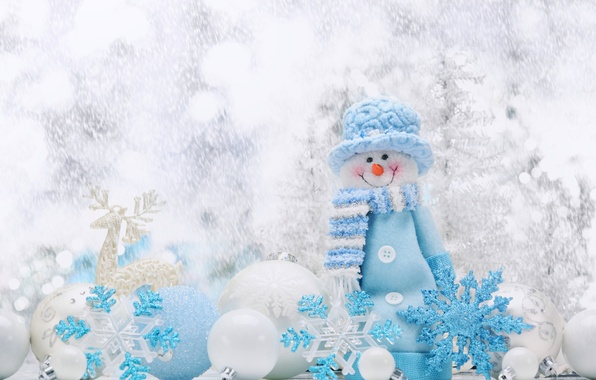 Picture Balls, Snowflakes, New year, Holiday, Snowman
