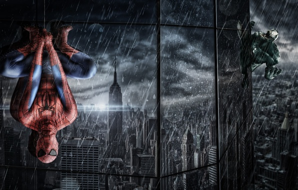 Picture reflection, rain, the building, Windows, web, costume, the shower, hanging, spider-man, Spider-Man, Venom