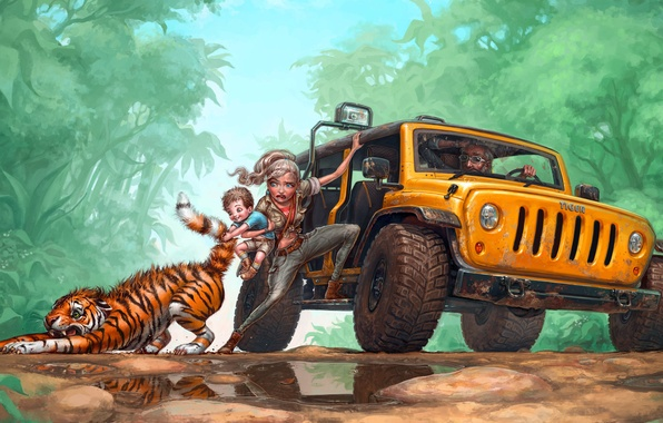 Picture road, child, family, jungle, art, jeep, puddles, tiger, til, RedreevGeorge, pulls