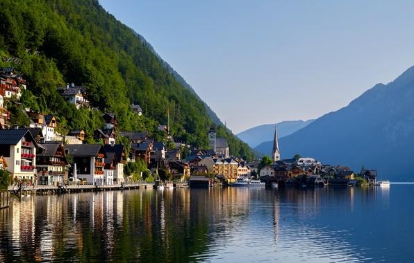 Picture mountains, lake, home, Austria, Alps, Austria, Hallstatt, Alps, Lake Hallstatt, Hallstatt, Lake Hallstatt