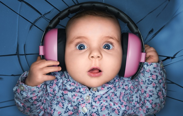 Picture headphones, child, delight