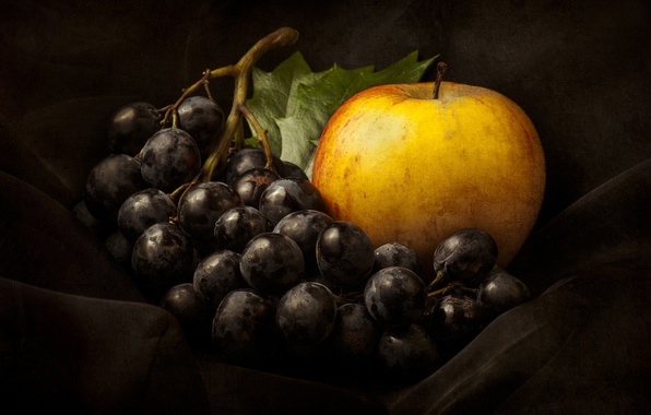 Picture Apple, grapes, still life