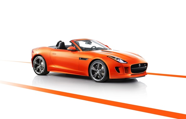 Picture Jaguar, Machine, Convertible, Jaguar, Orange, the front, F-type, Ftype