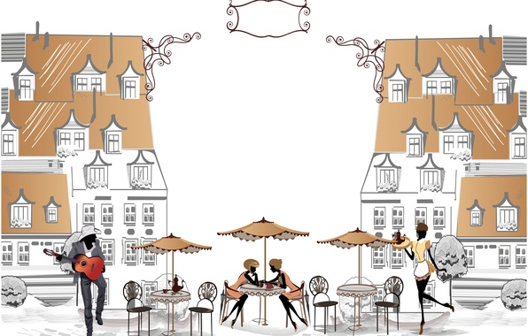 Picture music, girls, street, the building, area, cafe, guy, tables