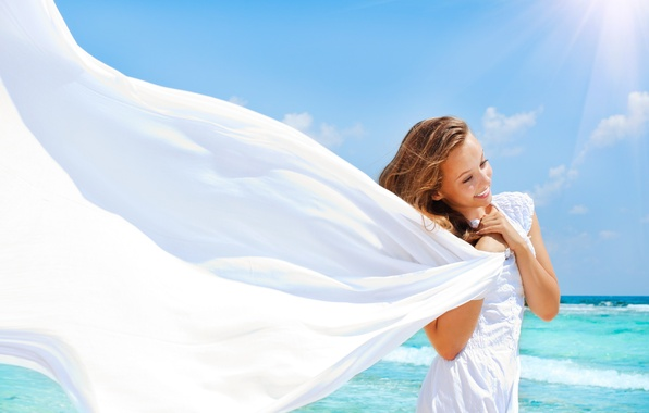 Picture the sun, smile, body, Girl, dress, fabric, token