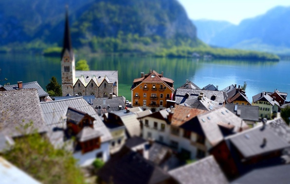 Picture The city, Lake, Day, Building, tilt shift, Effect
