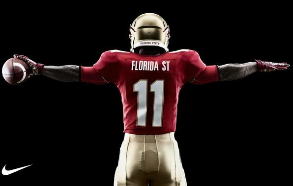 Picture the ball, helmet, uniform, Nike, American football, NCAA, athlete, college football, Florida State