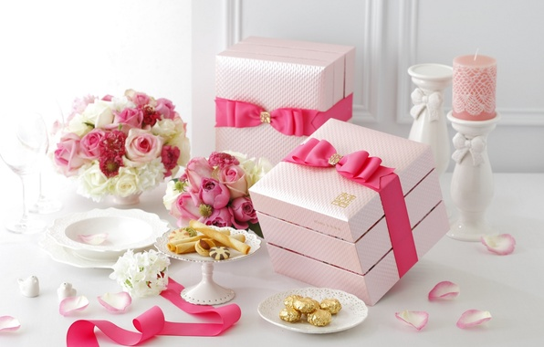 Picture flowers, roses, candle, tape, cakes, box, wedding