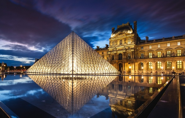 Picture the sky, clouds, night, clouds, the city, lights, reflection, France, Paris, The Louvre, lighting, backlight, …