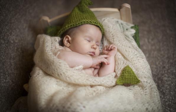 Picture children, hat, sleep, baby, sleeping, shawl, child, baby, cot