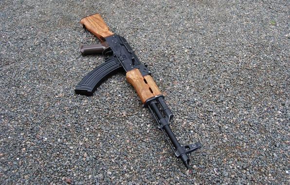 Picture weapons, machine, Kalashnikov, gravel, stones, AKM