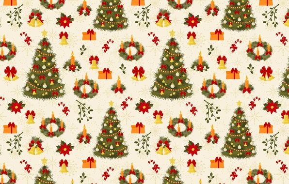 Picture snowflakes, figure, new year, candles, gifts, tree, bows, texture, bells, elegant, wreath, box