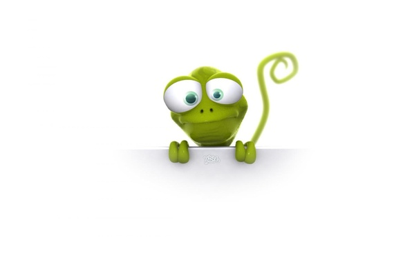 Picture look, mood, cartoon, lizard, tail, white background, green, big eyes