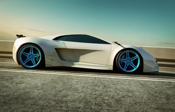 Picture machine, asphalt, Audi, white, supercar