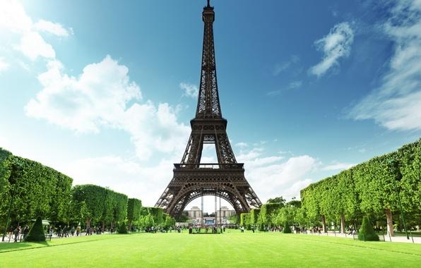 Picture summer, grass, France, Paris, Eiffel tower, Paris, France, Eiffel Tower, La tour Eiffel, lawns