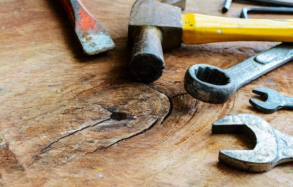 Photo wallpaper hammer, table, hand tools, wrench