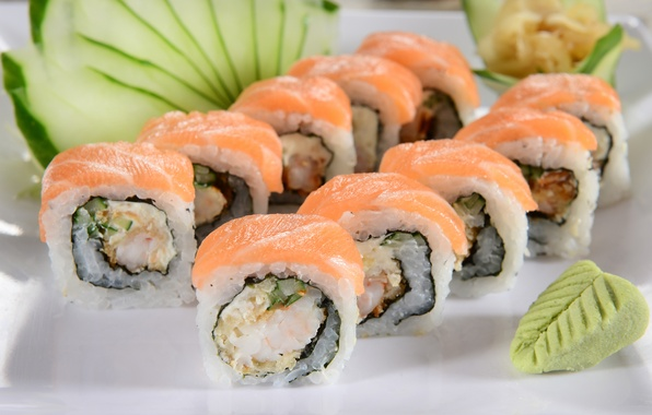 Picture greens, rolls, sushi, sushi, rolls, Japanese cuisine, fresh herbs, Japanese cuisine, seasoning, seasoning