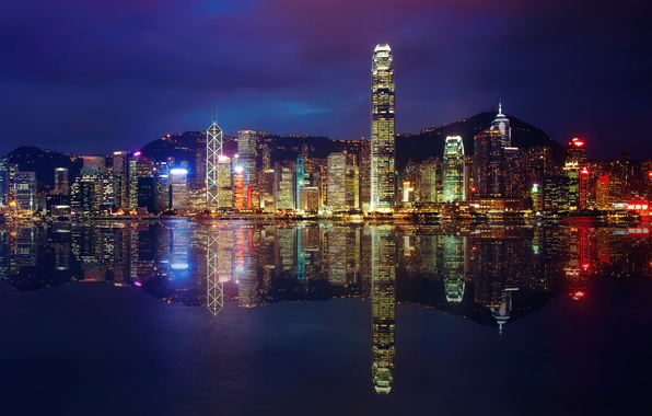 Picture reflection, night, the city, lights, building, skyscrapers, the evening, Bay, Hong Kong, Hong Kong
