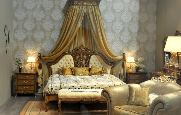 Picture design, style, bed, interior, chair, pillow, lamp, luxury, bedroom