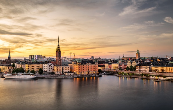 Picture sunset, river, ship, home, the evening, pier, Stockholm, Sweden