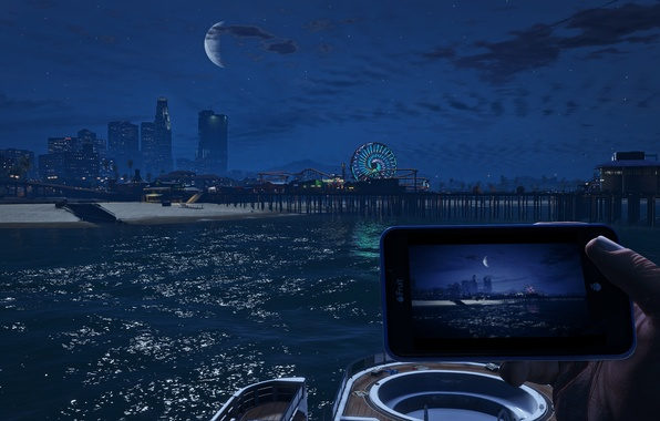 Wallpaper sea, beach, the city, the moon, Grand Theft Auto V, The Saints, Santa Maria