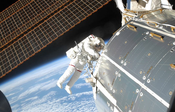 Picture space, planet, astronaut, Earth, ISS, solar panels, module