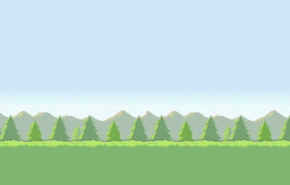 Picture the sky, grass, trees, mountains, Field, 8-bit