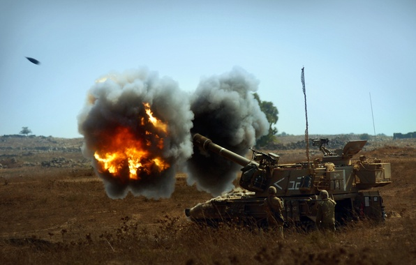 Picture fire, installation, self-propelled, artillery, howitzer, armored