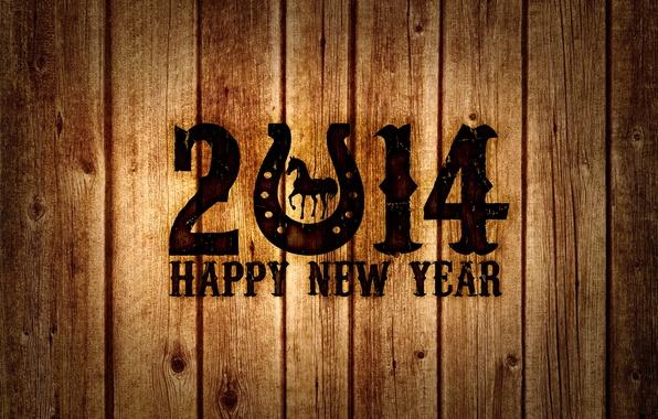 Photo wallpaper 2014, the year of the horse, tree, happy new year, Board, new year, horse, horseshoe, ...