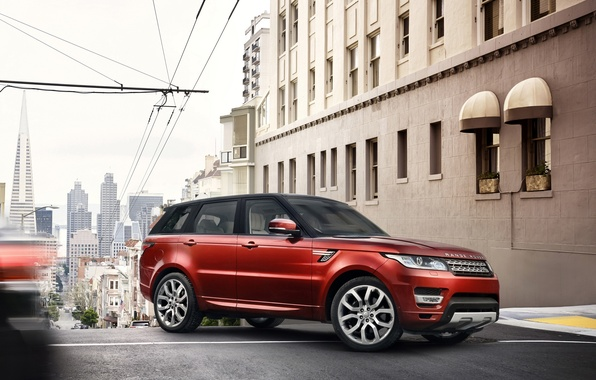 Picture red, SUV, Land Rover, Range Rover, the city.