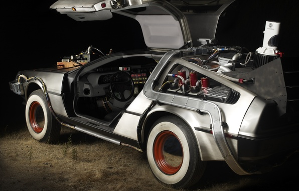 Picture Back to the future, the DeLorean, Marty McFly, Emmett Brown